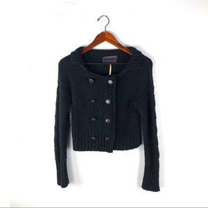 Free people xs cardigan cropped black wool knit